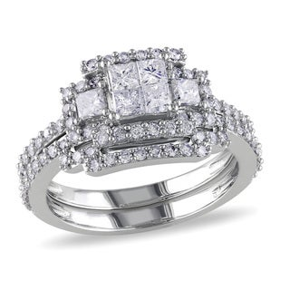 Miadora 14k White Gold 1 1/5ct TDW Bridal Ring Set (G-H, I1-I2)