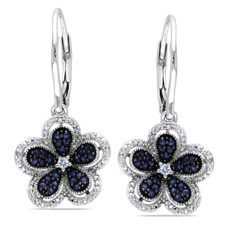 Miadora Sterling Silver Sapphire and Diamond Flower Earrings