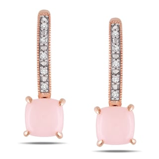 Miadora 10k Rose Gold Pink Opal and Diamond Earrings (G-H, I1-I2)