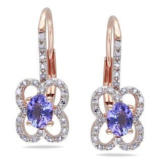 Miadora 10k Rose Gold Tanzanite and 1/5ct TDW Diamond Earrings (G-H, I1-I2)