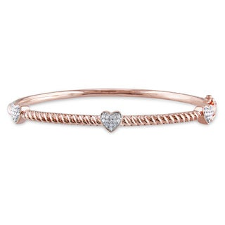 Miadora Rose Plated Silver 1/8ct TDW Diamond Heart Bangle (H-I, I2-I3)
