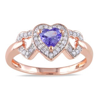 Miadora Rose Plated Silver Tanzanite and 1/8ct TDW Diamond Ring (H-I, I2-I3)