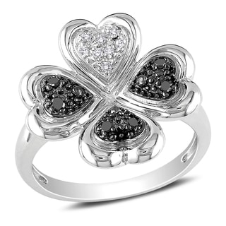 Miadora Sterling Silver Black and White Diamond Clover Ring
