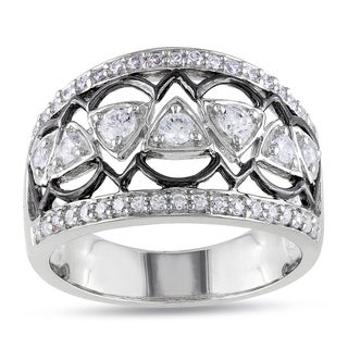 Miadora Sterling Silver Cubic Zirconia Contemporary Ring