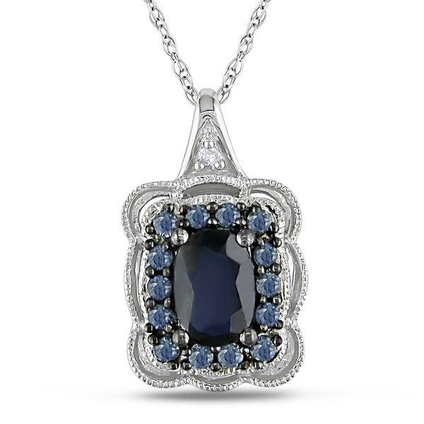 Miadora 10k White Gold Sapphire and Diamond Necklace