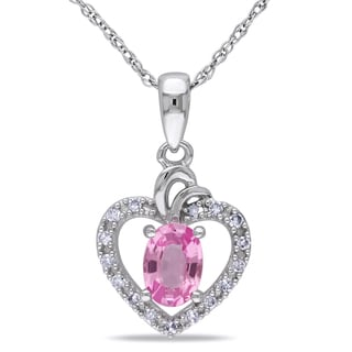 Miadora 10k White Gold Pink Sapphire and Diamond Necklace