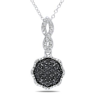 Haylee Jewels Sterling Silver 1/4ct TDW Black Diamond Necklace
