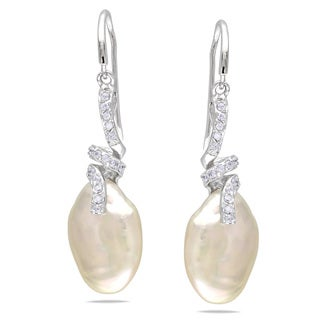 Miadora Sterling Silver Pearl and White Topaz Dangle Earrings