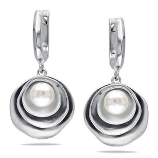 Miadora Sterling Silver Freshwater Pearl Dangle Earrings