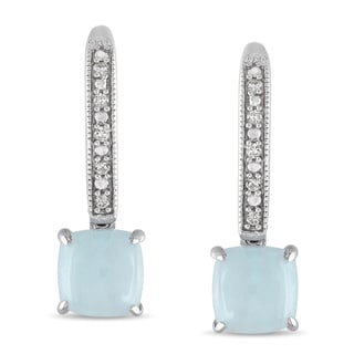 Miadora 10k White Gold Milky Aquamarine and Diamond Earrings