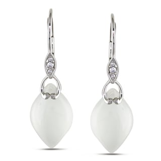 Miadora 10k White Gold White Chalcedony and Diamond Stud Earrings