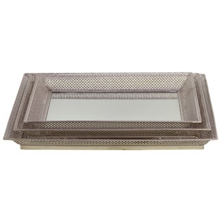 Urban Trends Collection Silver Metal Tray Mirrors (Set of 3)