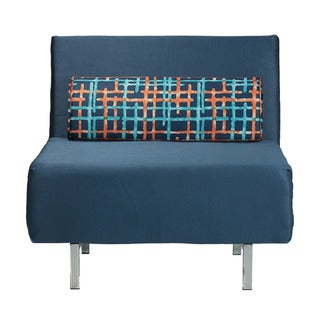 Cortesi Home Convertible Accent Chair Bed, Navy Blue