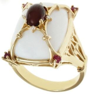 Michael Valitutti 14k Yellow Gold White Opal, Garnet, Ruby and Diamond Ring