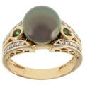 Michael Valitutti 14k Yellow Gold Peacock Tahitian Pearl, Chrome Tourmaline and Diamond Ring