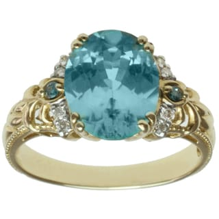 Michael Valitutti 14k Yellow Gold Blue Zircon and Diamond Ring