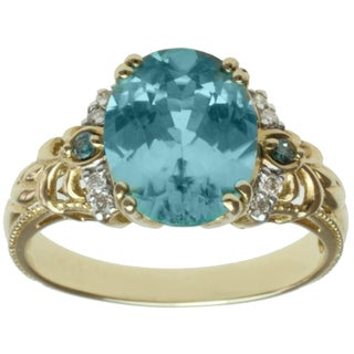 Michael Valitutti 14k Yellow Gold Blue Zircon and Teal-and-white Diamond Ring