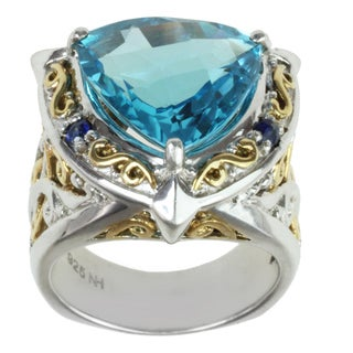 Michael Valitutti Two-tone Swiss Blue Topaz and Blue Sapphire Ring