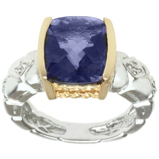 Michael Valitutti 14k Two-tone Gold Iolite and Diamond Ring