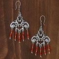 Sterling Silver 'Enchanted Forest' Carnelian Earrings (Mexico)