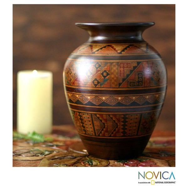 Handcrafted Ceramic 'Sowing Fields' Aged Cuzco Vase (Peru)