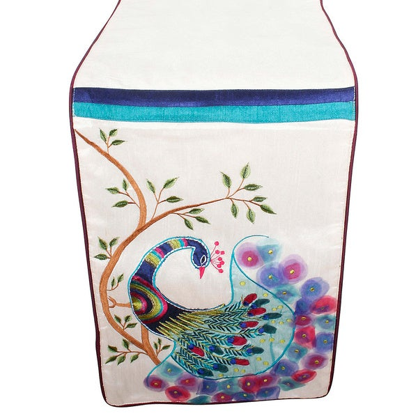 Vanna Peacock 13x72-inch Table Runner