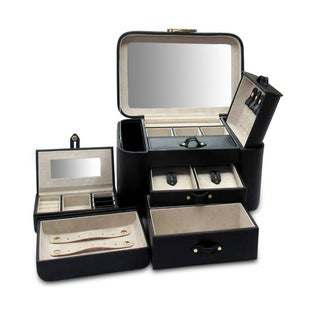 Morelle Black Leather Two Side Pullout Jewelry Box