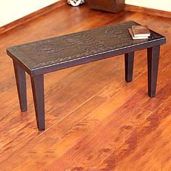 Cedar Wood and Leather 'Energy of Life' Coffee Table (Peru)