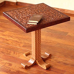 Cedar and Leather 'Colonial Marigold' Accent Table (Peru)