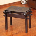 Tornillo Wood and Leather 'Nobility' Stool (Peru)