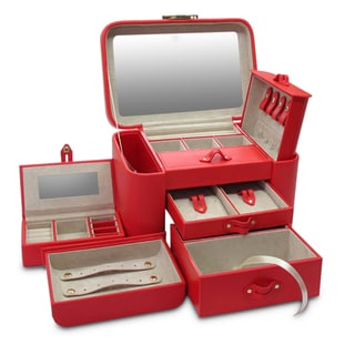 Morelle Red Leather Two Side Pullout Jewelry Box