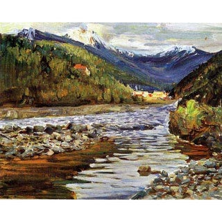 'Landscape River and Mountain' Canvas Print Art