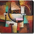 'Abstract New Cities' Giclee with Oil Brush Canvas Art
