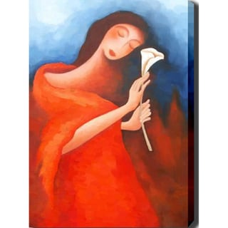 'Woman with Flower' Canvas Art