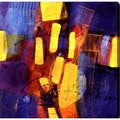 Abstract 'Blue and Yellow' Giclee Art on Canvas