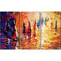 Abstract 'Boat' Giclee Canvas Print (Set of 3)