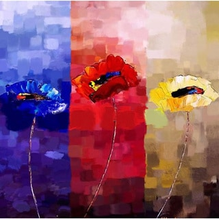Abstract 'Three Color Flowers' Giclee Canvas Print Art