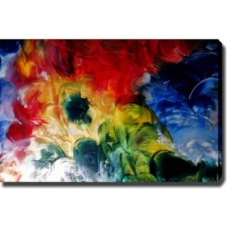 Abstract 'Colorful Flowers' Giclee with Oil Brush Canvas Art