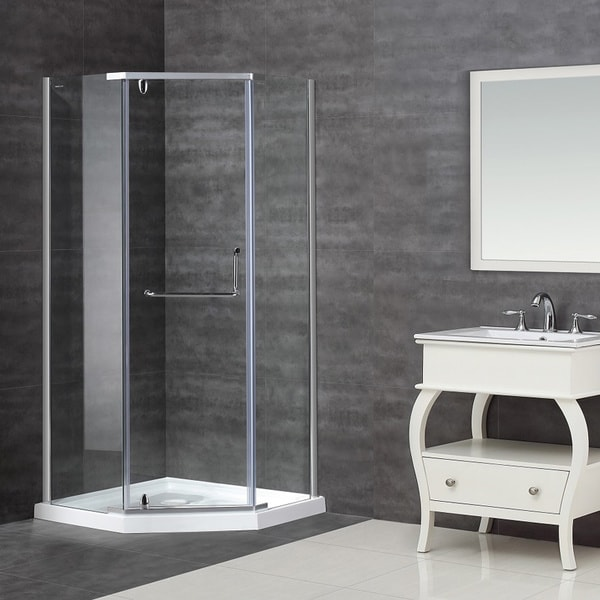 Aston 38 x 38-inch Clear Glass Neo-Angle Semi-Frameless Shower Enclosure with Acrylic Base