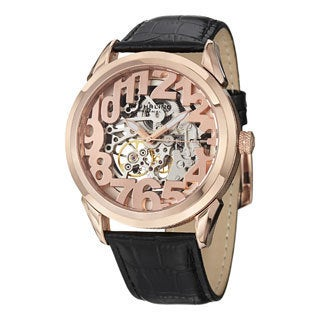 Stuhrling Original Men's Rosary Automatic Skeleton Leather Strap Watch