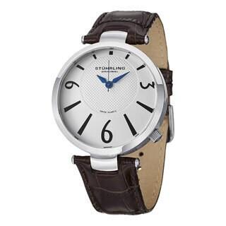 Stuhrling Original Men's Surmount Swiss Quartz Brown-Leather Strap Watch