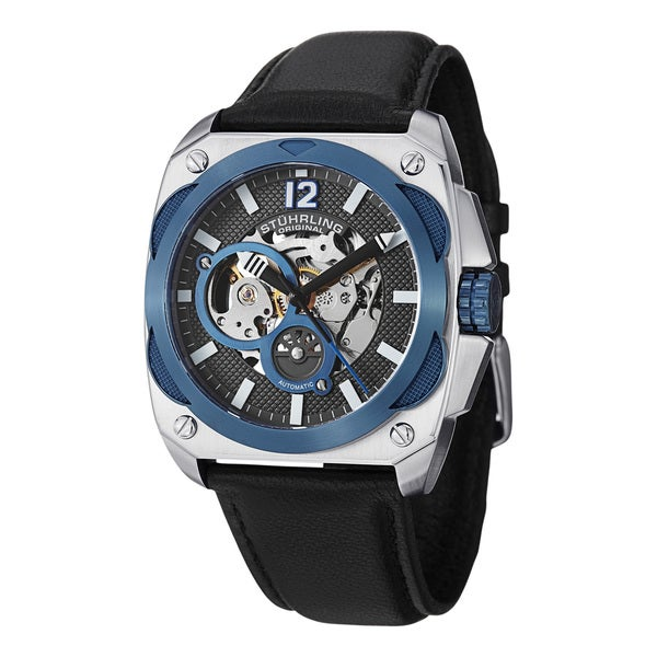 Stuhrling Original Men's Shadow Water-resistant Automatic Skeleton Leather-strap Watch