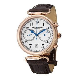 Stuhrling Original Men's Velocity Swiss Quartz Brown Leather Strap Watch