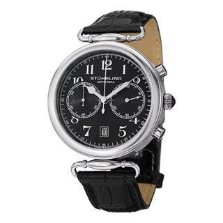 Stuhrling Original Men's Velocity Swiss Quartz Black Leather Strap Watch