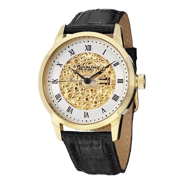 Stuhrling Original Men's Magnifique Automatic Skeleton Leather Strap Watch - Black/Gold/Silver