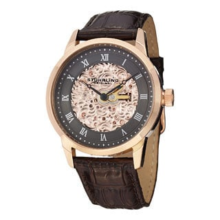 Stuhrling Original Men's Magnifique Automatic Skeleton Leather Strap Watch - Brown/Gold/Gray