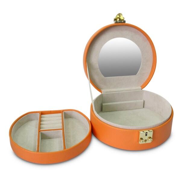 Morelle Linda Half Moon Nectarine Leather Jewelry Box