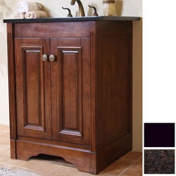 Natural Granite Top Light Walnut Finish 24-inch Single Sink Traditional Style Bathroom Vanity