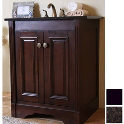 Natural Granite Top Dark Walnut Finish 24-inch Single Sink Traditional Style Bathroom Vanity