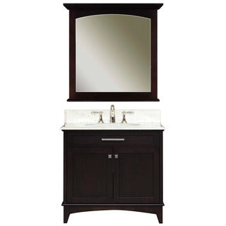 Water Creation 'Manhattan' Dark Espresso White Marble Top Vanity and Mirror Set